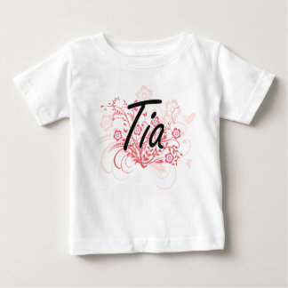 Tia Artistic Name Design with Flowers T-shirts