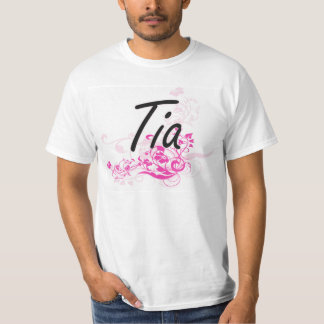 Tia Artistic Name Design with Flowers Tshirt