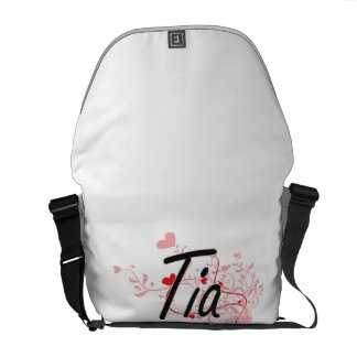 Tia Artistic Name Design with Hearts Messenger Bags