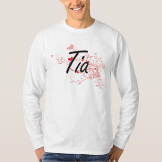 Tia Artistic Name Design with Hearts Tee Shirts