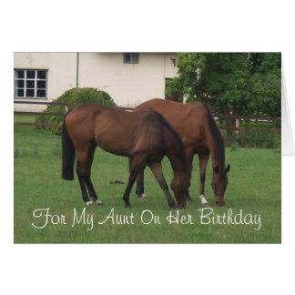 Tía Birthday de los caballos Tarjeta De Felicitación
