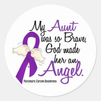 Tía cáncer pancreático del ángel 2 pegatina redonda