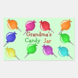 Tía Candy Jar del abuelo de la abuela o etiquetas Pegatina Rectangular