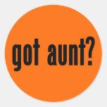¿tía conseguida? etiqueta redonda