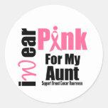 Tía de la cinta del rosa de la ayuda del cáncer de pegatinas redondas