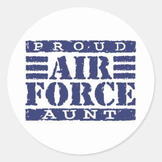 Tía de la fuerza aérea pegatina redonda