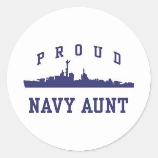 Tía de la marina de guerra pegatina redonda