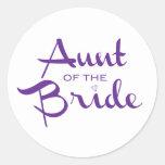 Tía de la púrpura de la novia en blanco pegatinas
