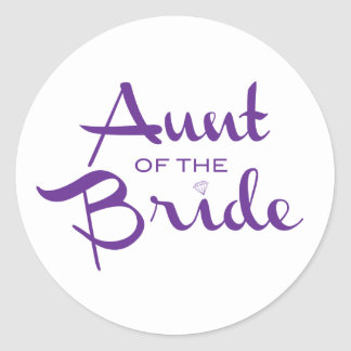 Tía de la púrpura de la novia en blanco pegatinas redondas