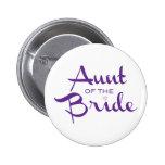 Tía de la púrpura de la novia en blanco pin redondo de 2 pulgadas