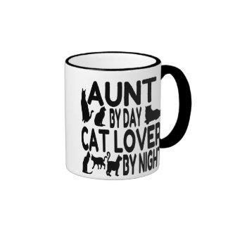 Tía del amante del gato taza de dos colores