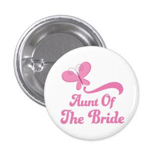 Tía del banquete de boda de la novia pin redondo de 1 pulgada