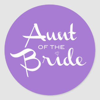 Tía del blanco de la novia en púrpura pegatina redonda