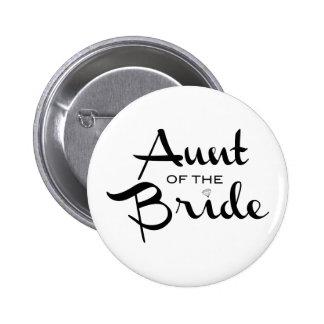 Tía del negro de la novia en blanco pin redondo de 2 pulgadas