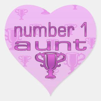 Tía del número 1 pegatina en forma de corazón