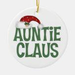 Tía divertida Claus Christmas Ornament Adorno Redondo De Cerámica