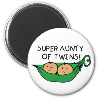 Tía estupenda de la vaina de los gemelos imán redondo 5 cm
