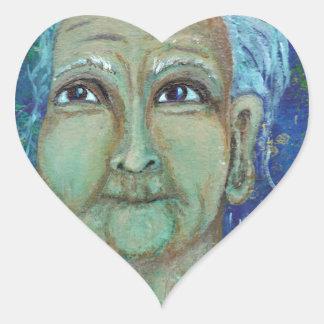 Tía femenina divina Ebb Pegatina En Forma De Corazón