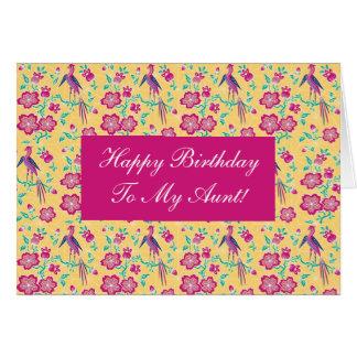 Tía floral Card del feliz cumpleaños del batik de  Tarjeta De Felicitación