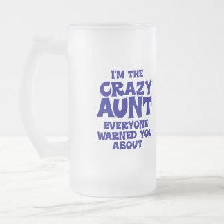 Tía loca divertida taza de cristal