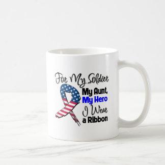 Tía - mi soldado, mi cinta patriótica del héroe taza básica blanca