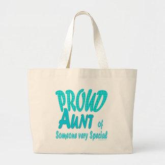 Tía orgullosa alguien muy especial bolsa tela grande