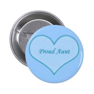 Tía orgullosa Button, azul Pin
