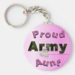 Tía orgullosa Keychain del ejército Llaveros Personalizados