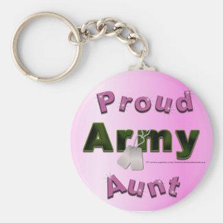 Tía orgullosa Keychain del ejército Llavero Redondo Tipo Pin