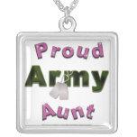 Tía orgullosa Necklace del ejército Colgante Cuadrado