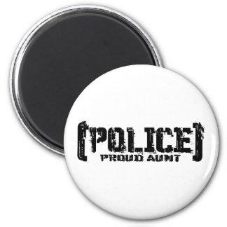 Tía orgullosa - POLICÍA hecha andrajos Imán Redondo 5 Cm