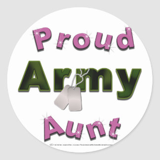 Tía orgullosa Stickers del ejército Pegatina Redonda