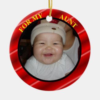 Tía Photo Gift Tag y ornamento Adorno Redondo De Cerámica