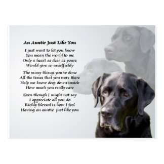 Tía Poem Black Labrador Postal