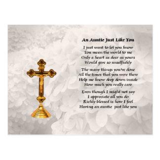 Tía Poem - diseño cruzado de oro Postal