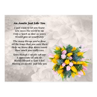 Tía Poem - diseño de las flores Tarjeta Postal