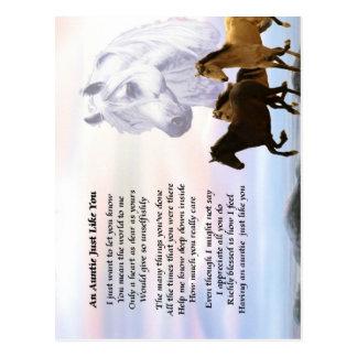 Tía Poem Horses Postal