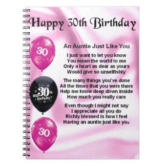 Tía Poem - trigésimo cumpleaños Libro De Apuntes Con Espiral