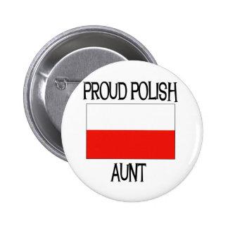 Tía polaca orgullosa pin redondo de 2 pulgadas