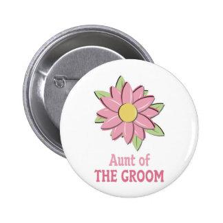 Tía rosada del novio de la flor pin redondo de 2 pulgadas