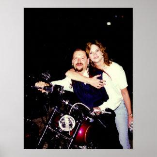 Tía Sharon en un Harley Póster