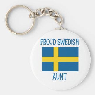 Tía sueca orgullosa llavero redondo tipo pin