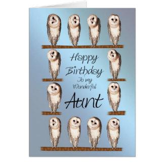 Tía, tarjeta de cumpleaños curiosa de los búhos