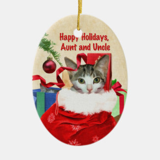 Tía y tío Christmas Ornament Adorno Navideño Ovalado De Cerámica