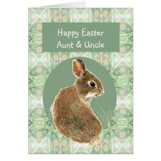 Tía y tío Cute Rabbit de Pascua de la escritura