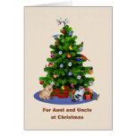 Tía y tío, feliz árbol de navidad, mascotas tarjeta