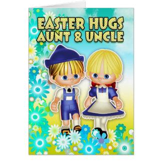 Tía y tío - tarjeta de pascua, dos niños en flor