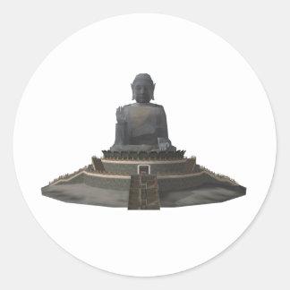 Tian Tan Buddha: Big Buddha: 3D Model: Classic Round Sticker