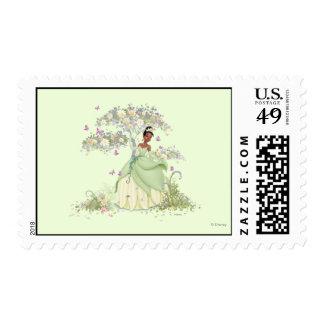 Tiana debajo del árbol sello postal