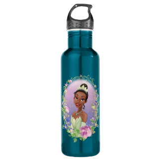 Tiana  Flower Frame Purple Stainless Steel Water Bottle